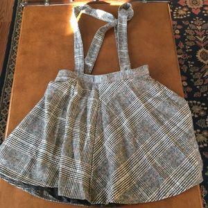 Forever 21 pinafore suspenders plaid mini skirt